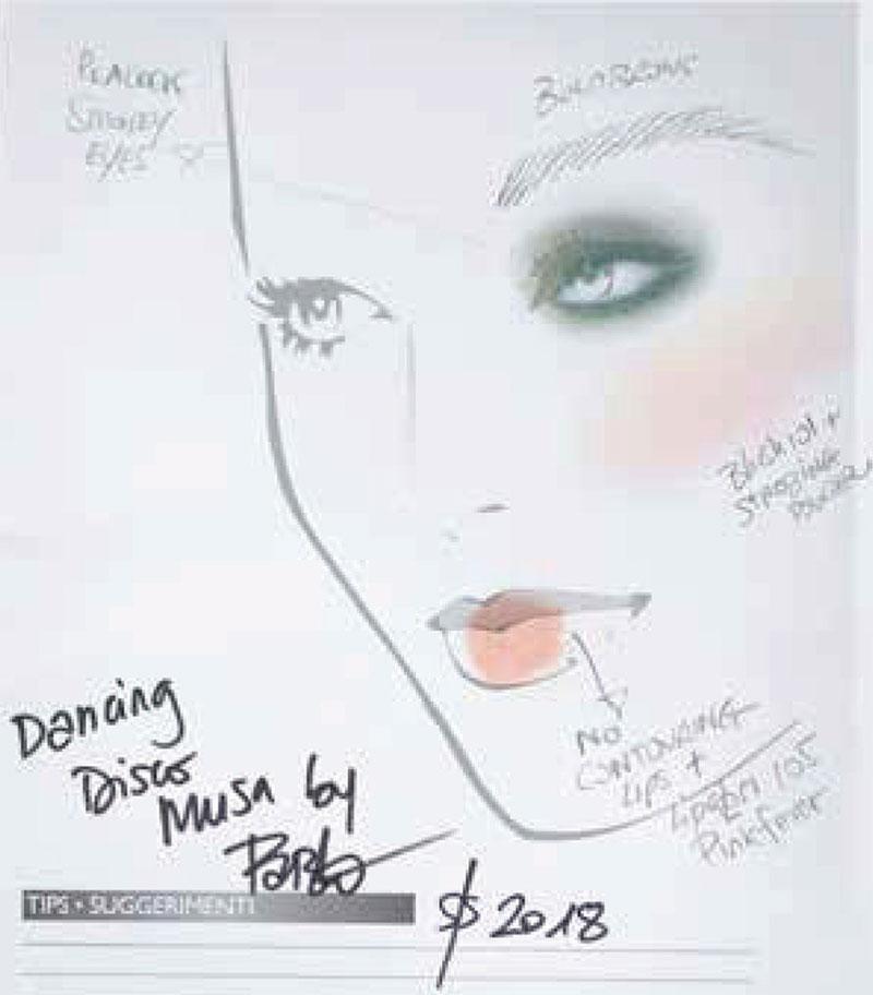 Scheda trucco Dancing disco Musa di Pablo Gil Cagnè